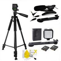 Vivitar 72 Tripod + Led Light + Zoom Microphone For Canon Eos Rebel 6d 7d 5d T5