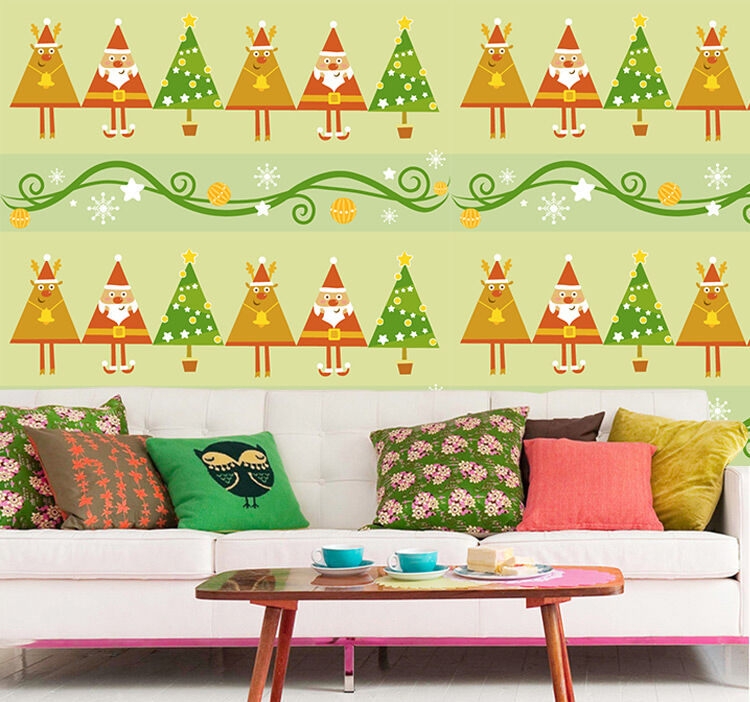 3D Weihnachten Cartoon Bäume 25 Fototapeten Wandbild Bild Tapete Familie Kinder