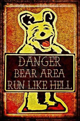*RUN LIKE HELL BEAR AREA* USA MADE METAL SIGN 8X12 RUSTIC LOG CABIN LODGE ALASKA