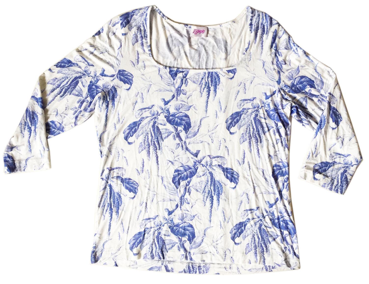 LEGGIADRO Tee Stretch Viscose 3 4 Sleeve Blau Weiß Botanical Print Sz 4 (12-14)