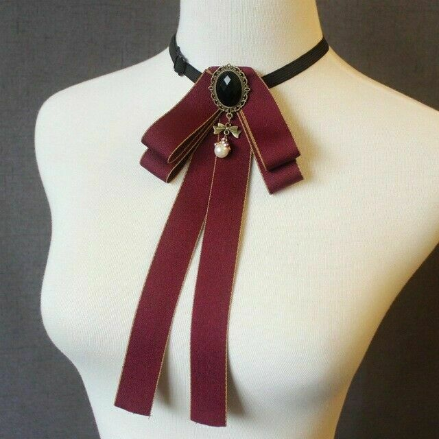 New Women Shirt Bowtie Cravat Groom Elastic Band Necktie Pearl Rhinestone