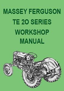 massey ferguson te 20 te a20 tractor workshop manual ebay rh ebay ie