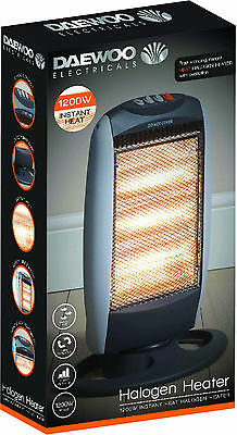 Daewoo Branded 1200W Portable Home /& Office Electric Oscillating Halogen Heater