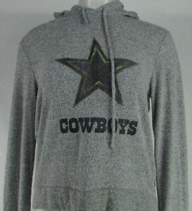 Dallas-Cowboys-NFL-Women-039-s-Gray-Plush-Pullover-Distressed-Logo-Hoodie