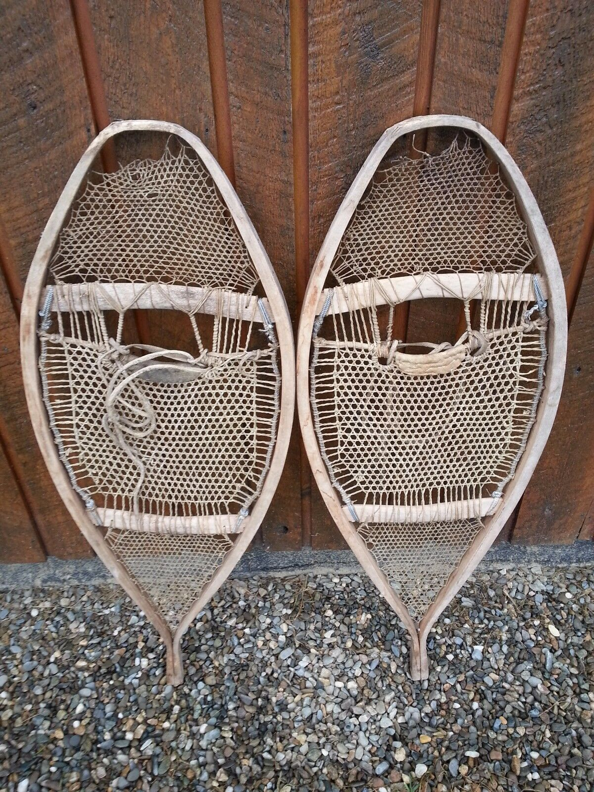 RARE OLD Snowshoes 38  Long with VERY  INTERESTING Webbing Design  100% free shipping