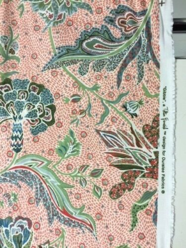 Gibbie Duralee Tilton Fenwick cotton linen fabric by the yard coral floral