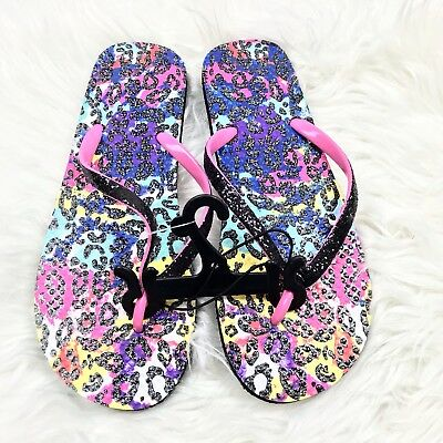 Girl/'s Youth UNBRANDED Black Butterfly Casual Slip On Flip Flops//Sandals NEW