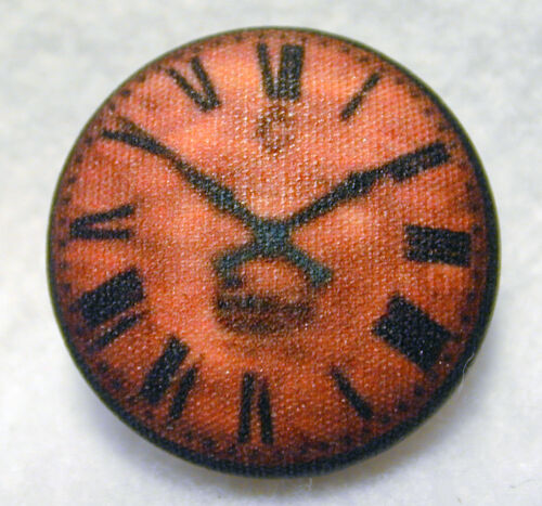 Hand Printed Fabric Button Clock Face #16 - 1 & 1/8 inch  FREE US SHIPPING