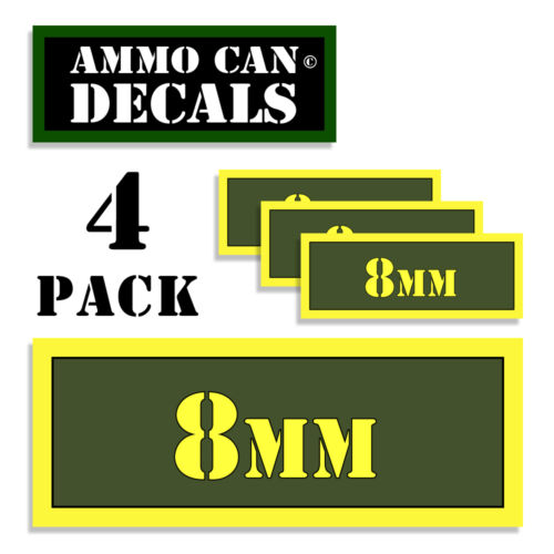 """8mm Ammo Can Decals Ammunition Ammo Can Label 3/""""x1.15/"""" stickers decals 4 pack AG"""