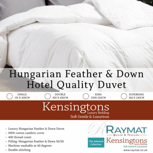 Hungarian Goose Feather and Down Duvets 50% Feather & 50% Down Quilts All Togs