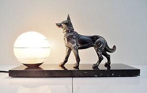 LAMPE VEILLEUSE ART DECO DESIGN' 1930 SUR SOCLE MARBRE NOIR DECO CHIEN BRONZE