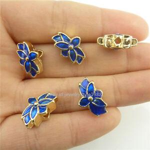 18543 2pcs Enamel Blue Lotus Golden Mini Cloisonne Loose 15mm Spacer Beads