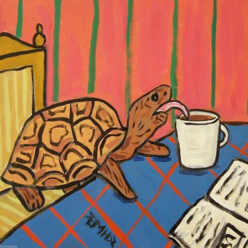 Turtle at the cafe coffee shop art tile coaster gift gifts tiles coasters