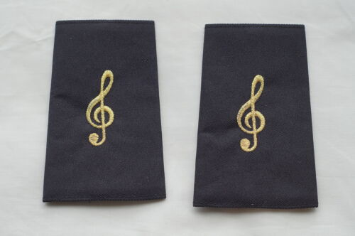 Canadian Police Fire Band Treble Cleff Gold Shoulder Slip Ons Pair