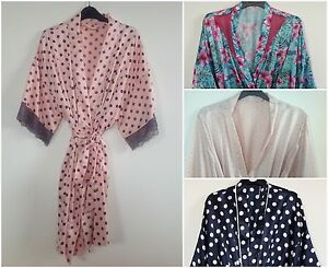 Image is loading S2-LADIES-SATIN-KIMONO-DRESSING-GOWN-ROBE-UK- 2b8c45f04f8d