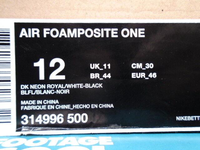 2018 Nike Air Air Nike FOAMPOSITE ONE 1 PENNY NEON ROYAL Bleu Noir blanc 314996-500 12 9da790