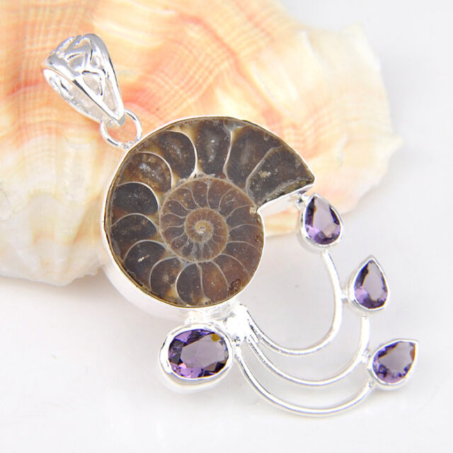 71.25 Cts Natural Ammonite Fossil Gemstone Silver Necklace Pendant 2 1/8 Inch