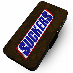 Suckers Faux Leather Flip Phone Cover Case Snickers Parody Ebay