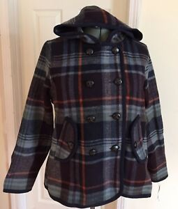 Woolrich Century Hooded Navy Blue Plaid Wool Blend Jacket Peacoat Coat M New
