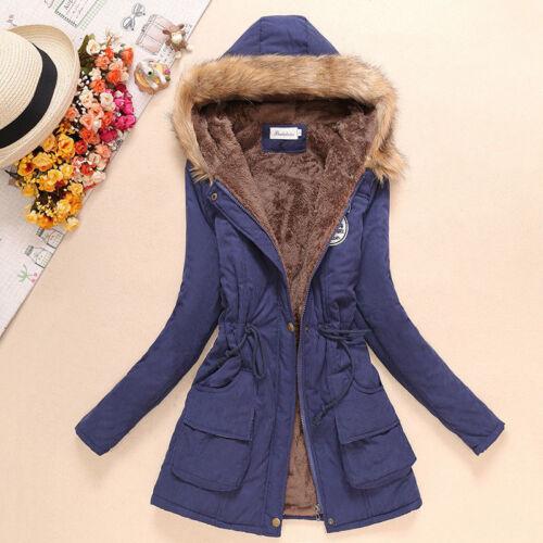 Winter Women/'s Hooded Jacket Fur Velvet Long Slim Warm Outwear Parka Coat Thick