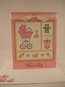 "Stampin Up ""Baby Bundle"" Pink Welcome Baby Handmade Card"