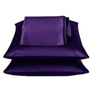 2 Pieces of 350TC Solid Purple Soft Silk~y Satin Pillow Case King Size