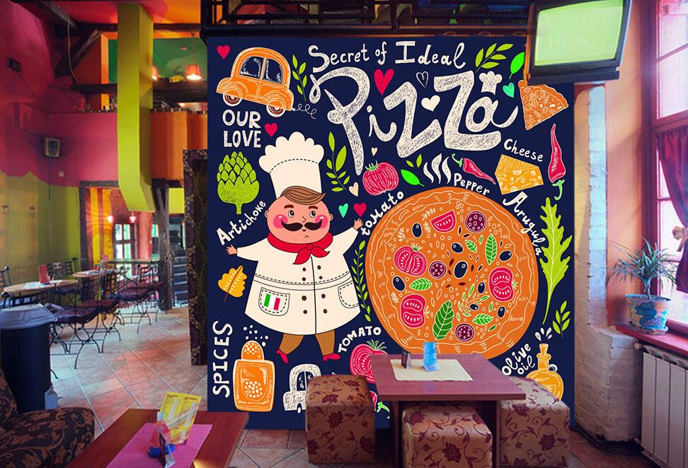 3D Pizza graffiti Wall Paper Wall Print Decal Wall Deco Indoor Wall Murals