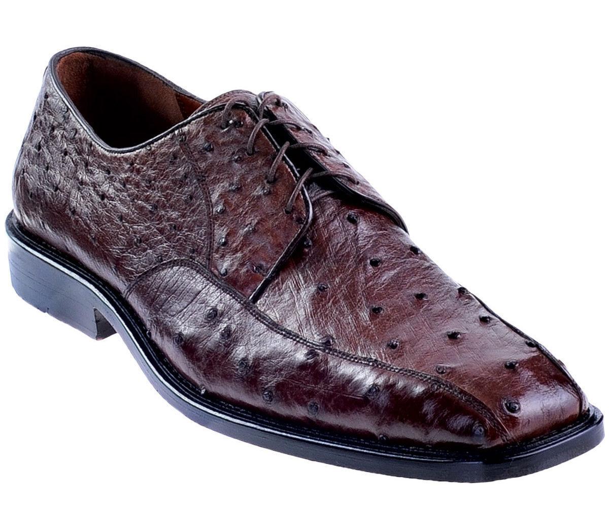 LOS ALTOS GENUINE BROWN OSTRICH OXFORDS DRESS SHOE D Scarpe classiche da uomo