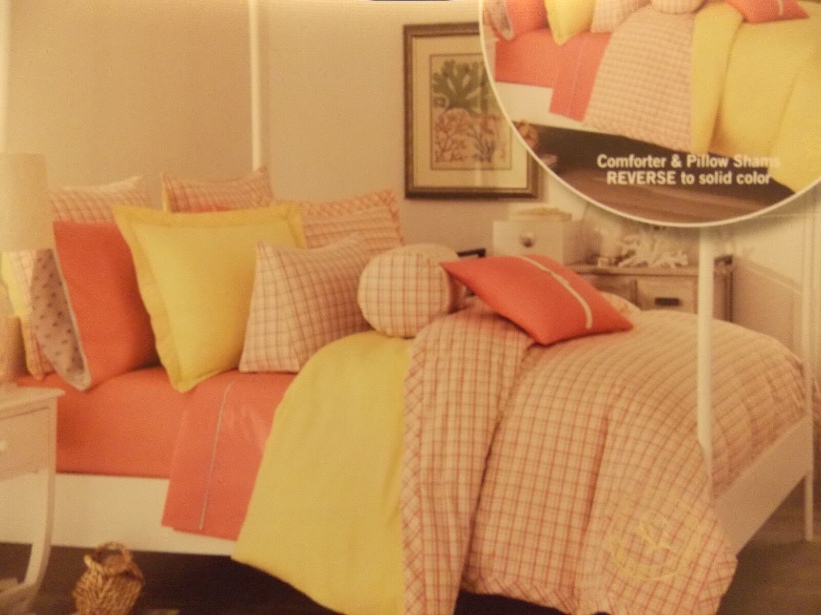 NEW SOUTHERN TIDE NAUTICAL PATIO PLAID PINK YELLOW TWIN COMFORTER & SHAM SET