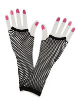 Black Long Fish Net Fingerless Gloves 80s Party Goth Hen Fancy Dress New Goth