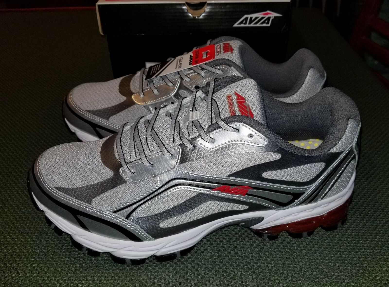 Avia Avi-Pulse Silver Grey Red Size Men-US 10.5 Extra Wide New Sneakers Shoes