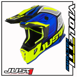 Confiant Casco Cross Enduro Motard Just1 J38 Blade Blu Fluo Yellow Gloss Black Prix ​​ModéRé