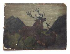 Antique Painting Elk Stag Primitive Folk Art Wildlife