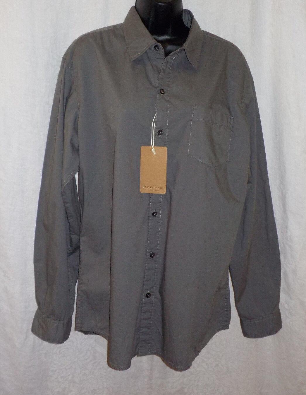 bca26642 Native Code Men Shirt Size XL NWT Grey 100% Cotton Button Long ...