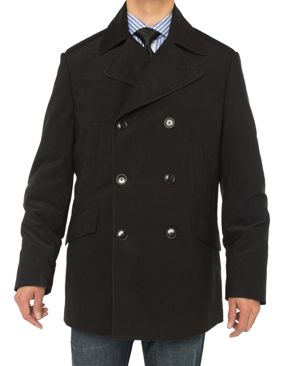 Luciano Natazzi  Herren Double Breasted Top Coat Modern Fit Pea