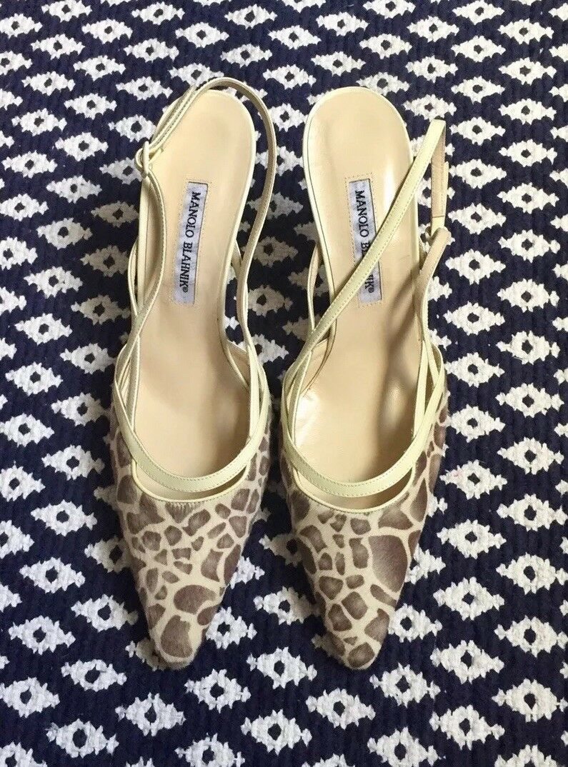 NWOT Manolo Blahnik Giraffe printed Calf Hair Sling Back, 42, Retail  795