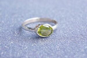 Faceted-Peridot-Silver-Ring-Fine-Solid-925-Silver-Ring-Size-6-9