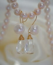 Quarz Bergkristal Perlen Ohrringe Gold Filled Quartz Briolett Pearl Earrings
