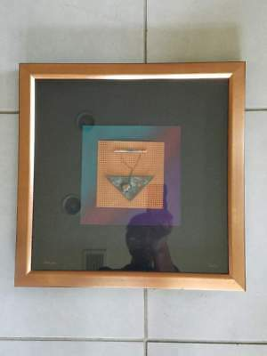 "Art Vintage Metal Craft Bijoux Art Signed By Artist In 1991 16.75x16.5"""