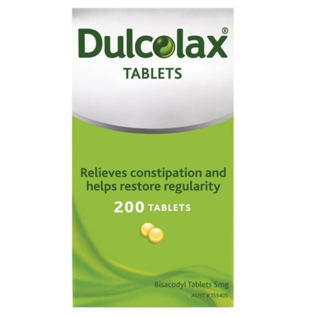 Dulcolax 5mg Tablets 200 Bisacodyl 5mg for Constipation Relief