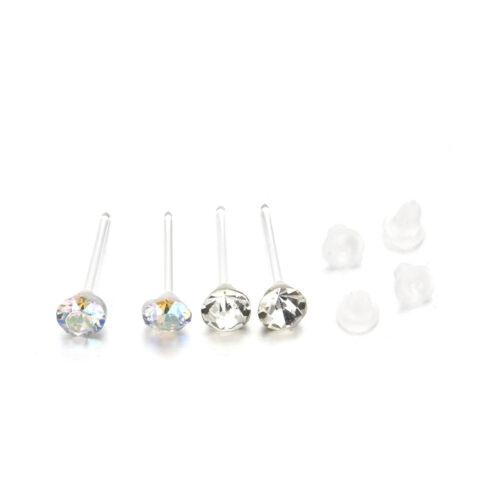 20 Pairs White//Multi-color Crystal Rhinestone Stud Earrings Ear Jewelry Fr Women