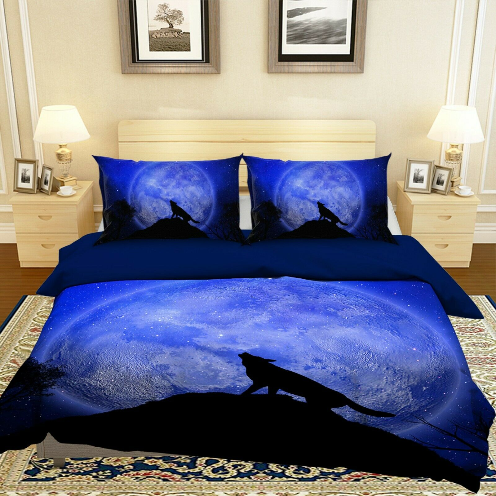 3D Wolf Howling N06 Animal Bed PilFaiblecases Quilt Duvet Cover Queen King Amy