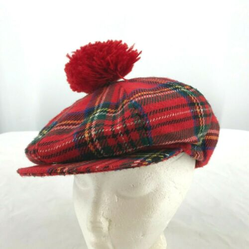 VINTAGE SHANDON PLAID WOOL MENS FLAT CAP HAT PLAID
