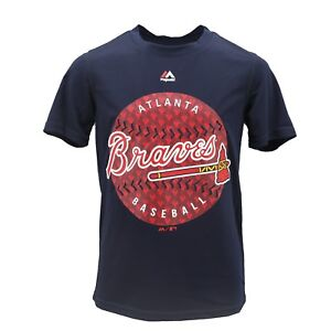 Atlanta-Braves-MLB-Majestic-Cool-Base-Kids-Youth-Size-Athletic-T-Shirt-New-Tags