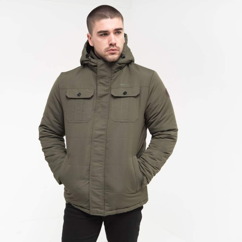 Crosshatch Mens Beekham with Quilted Padded Zip Thru Parka