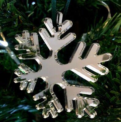 CoöPeratieve Large Icy Snowflake Shape Xmas Decs & Green Ribbon, Various Colours, Pack 4x14cm