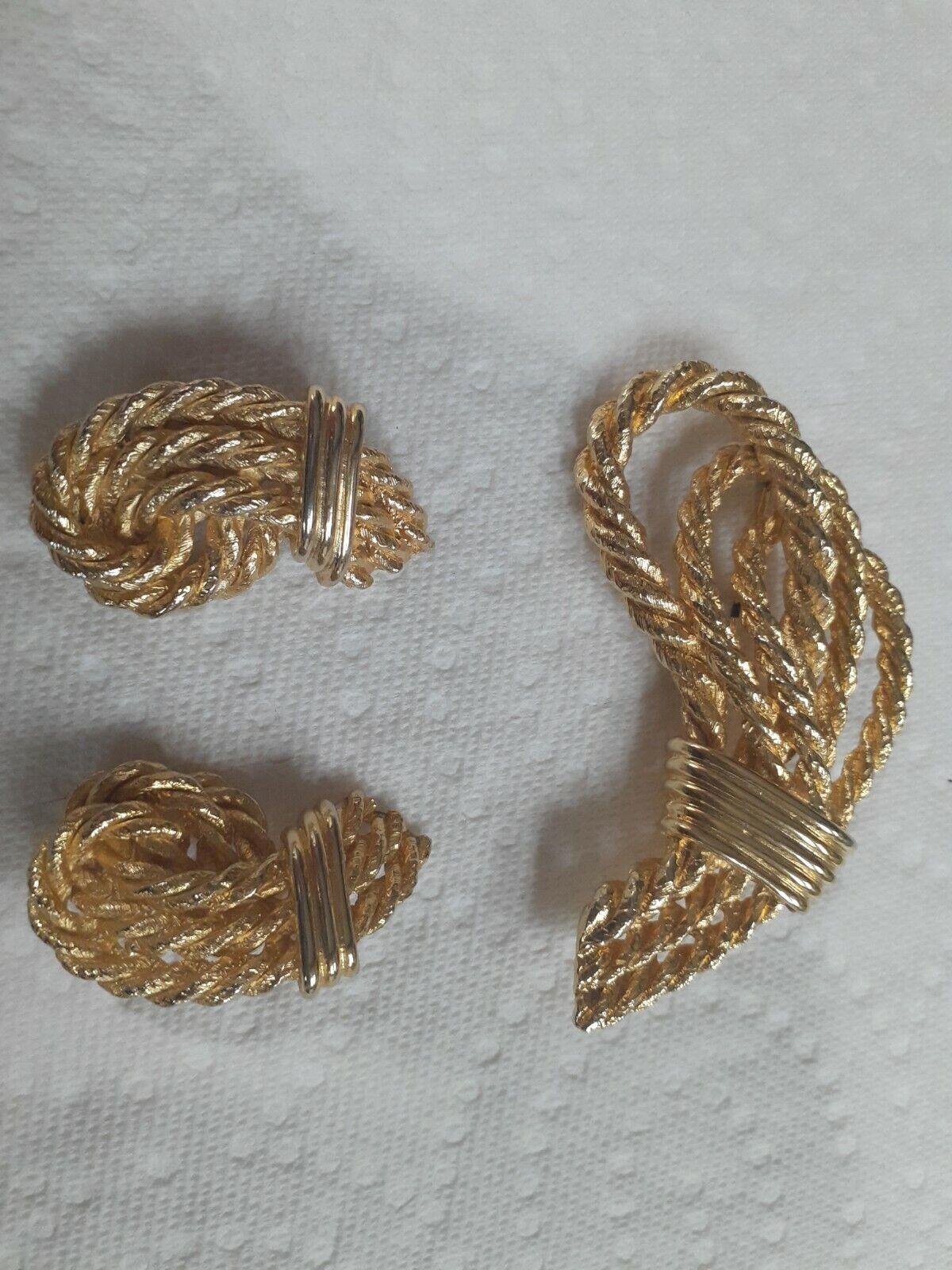 Vintage Lanvin Paris Gilted Rope Brooch/ Clip Ear… - image 1