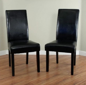 Details about Leather Chairs For Dining Room Cheap Casual High Back Black  Set Of 2 Wood Frame
