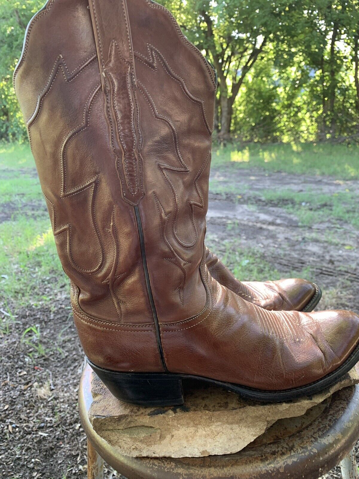 LUCCHESE Mens Cowboy Western Ranch Boots Brown Leather Handmade Size 8.5 D