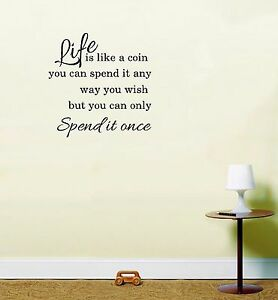 Life Is Like A Coin Life Quote Inspirational Sticker Vinyl Decal